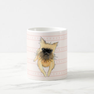 Brussels Griffon Lying Down Watercolour in Pink Coffee Mug