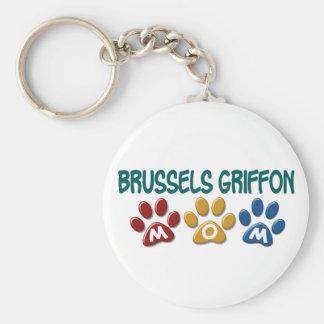 BRUSSELS GRIFFON MOM Paw Print 1 Basic Round Button Key Ring
