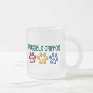 BRUSSELS GRIFFON MOM Paw Print 1 Frosted Glass Mug