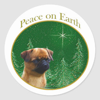 Brussels Griffon Peace Classic Round Sticker