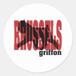 Brussels Griffon silhouette Round Sticker