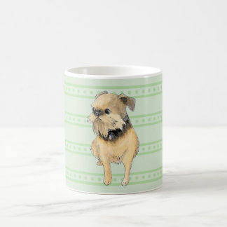 Brussels Griffon Sitting Watercolour in Green Basic White Mug