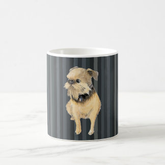 Brussels Griffon Sitting Watercolour in Navy Coffee Mug
