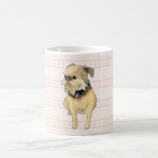 Brussels Griffon Sitting Watercolour in Pink Basic White Mug