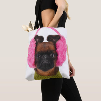 Brussels Griffon With Pink Earmuffs Tote Bag