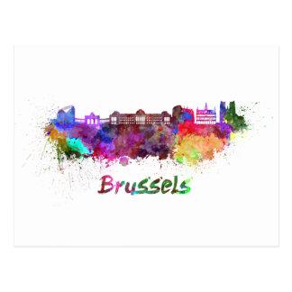 Brussels skyline in watercolor postcard