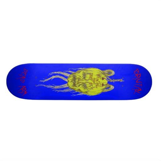 bRuTaL and Dead Arm Logo Skateboard Blue