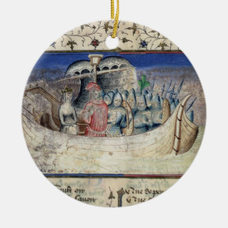 Brutus the Trojan Sets Sail for Britain, from 'The Round Ceramic Decoration