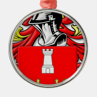 Bruzzi Coat of Arms Silver-Colored Round Decoration