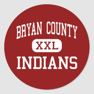 Bryan County - Indians - Middle - Pembroke Georgia Round Stickers