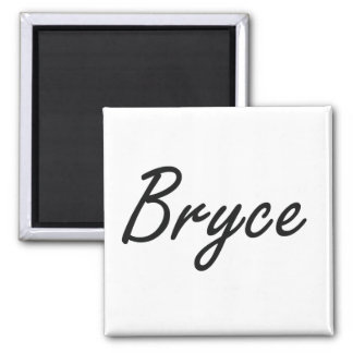 Bryce Artistic Name Design Square Magnet