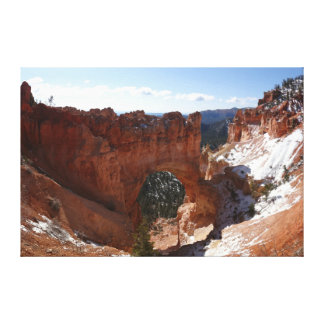 Bryce Canyon Natural Bridge Snowy Landscape Photo Canvas Print
