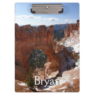 Bryce Canyon Natural Bridge Snowy Landscape Photo Clipboard