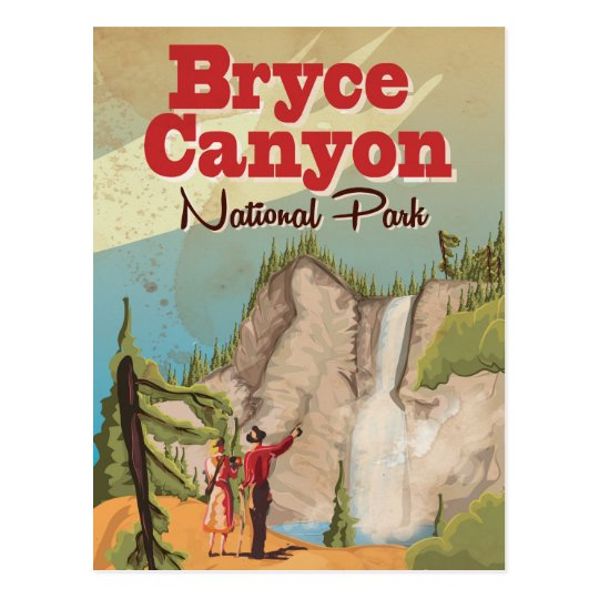 Bryce Canyon Vintage Travel Poster Postcard