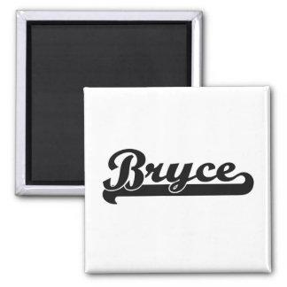 Bryce Classic Retro Name Design Square Magnet