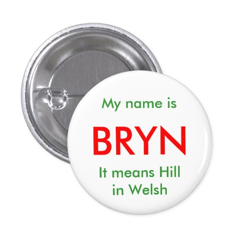 BRYN, My name isIt means Hill in Welsh Pinback Button