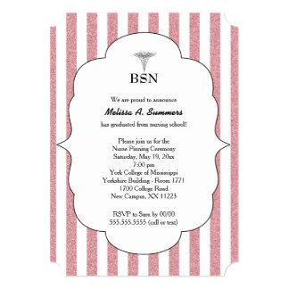 BSN Nurse graduation invites pink blush glitter
