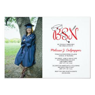 BSN Nurse photo graduation pinning party / red 13 Cm X 18 Cm Invitation Card
