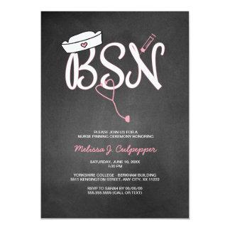BSN nurse pinning ceremony graduation pink 13 Cm X 18 Cm Invitation Card