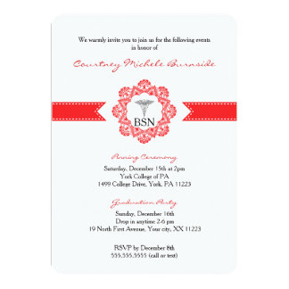 BSN RN graduation / pinning ceremony / red 13 Cm X 18 Cm Invitation Card