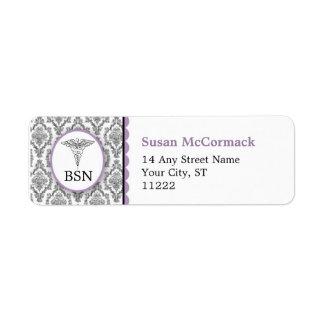BSN RN LPN Damask Caduceus Black Lavender