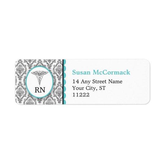 BSN RN LPN Damask Caduceus Black Turquoise
