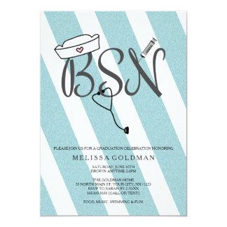 BSN RN nurse graduation invites teal blue glitter