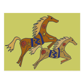 BT- Artistic Galloping Horses Postcard