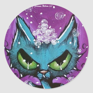 Bubble Bath Cat round Sticker