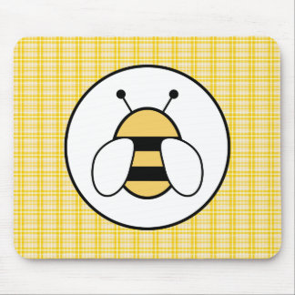 Bubble Bee with Plaid Background Mouse Mat