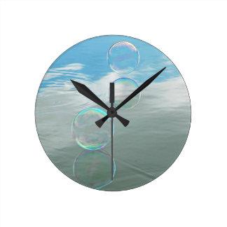 Bubble, Blue Round Clock