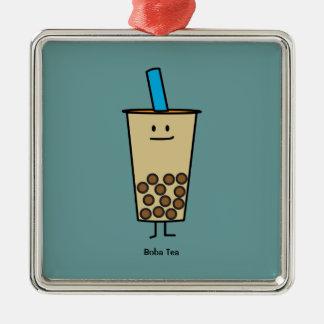 Bubble Boba Pearl Milk Tea Tapioca balls Silver-Colored Square Decoration
