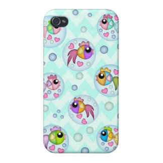 Bubble fish on Chevron waves iPhone 4/4S Cover