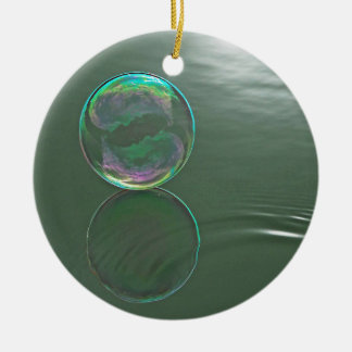 Bubble floating on water round ceramic decoration