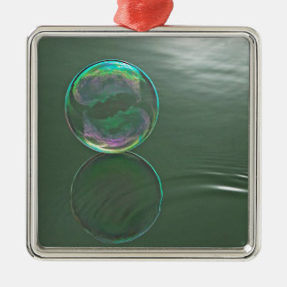 Bubble floating on water Silver-Colored square decoration
