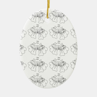 Bubble flower black and white ceramic oval decoration