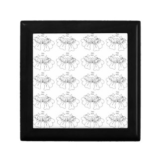 Bubble flower black and white small square gift box