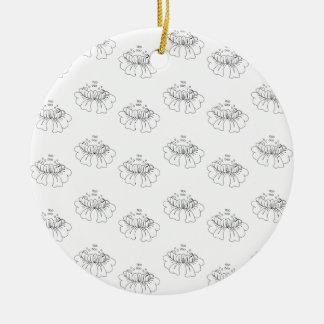 bubble flower half drop round ceramic decoration