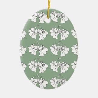 bubble flower white on green christmas ornament