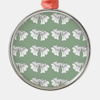 bubble flower white on green christmas ornament