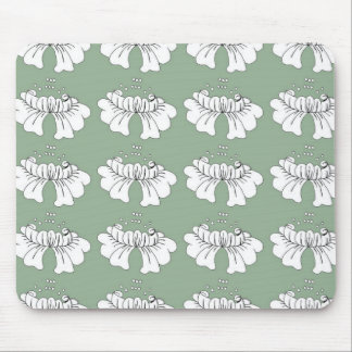 bubble flower white on green mouse mat