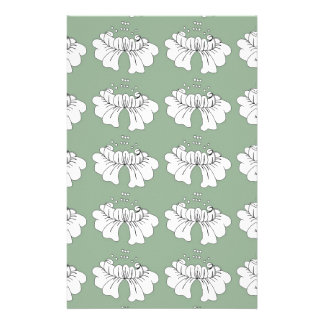 bubble flower white on green stationery