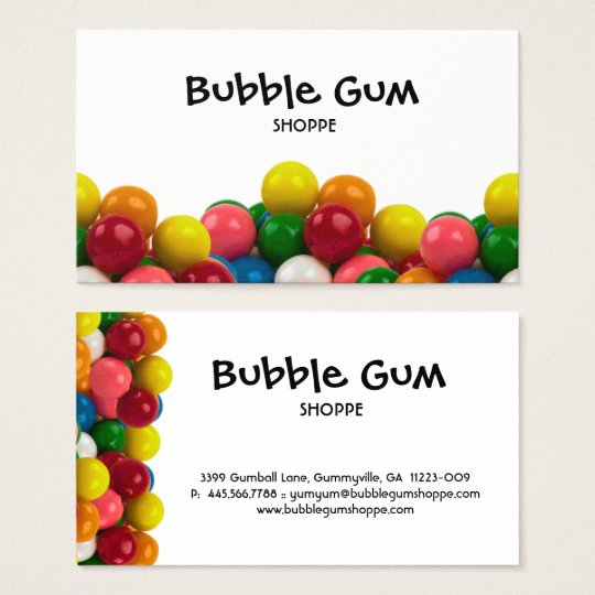Bubble Gum Colourful Gumballs White Background Business Card