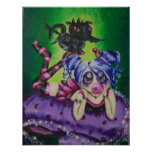 Bubble Gum Fairy and Dragon Fantasy Art Print