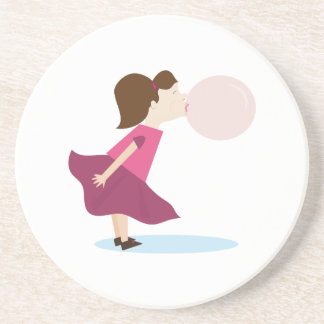 Bubble Gum Girl Drink Coasters