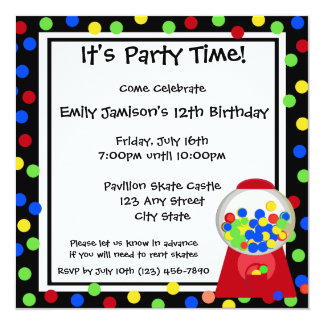 Bubble Gum Party 13 Cm X 13 Cm Square Invitation Card