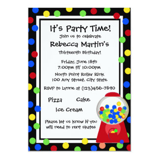 Bubble Gum Party 13 Cm X 18 Cm Invitation Card
