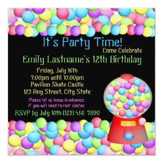 """Bubble Gum Party 5.25"""" Square Invitation Card"""