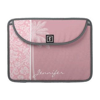 Bubble Gum Pink Damask Pattern; Palm Sleeves For MacBooks
