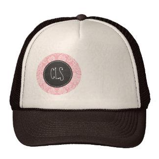 Bubble Gum Pink Damask; Retro Chalkboard Cap
